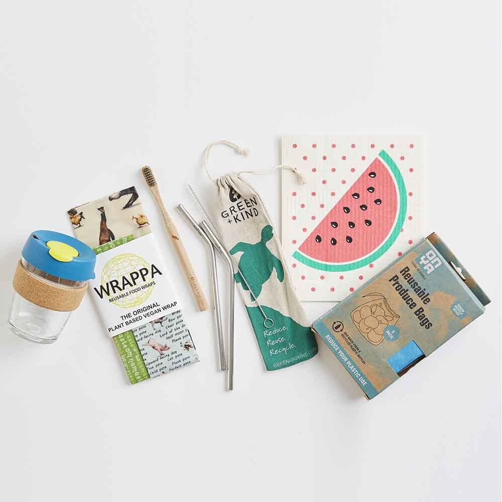 Kit for a zero waste lifestyle, including reusable items like straws and cups