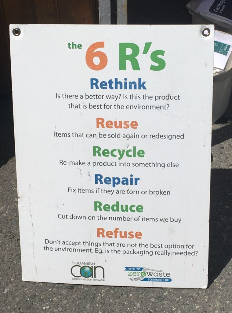 the 6 Rs poster - rethink, reuse, recycle, repair, reduce, refuse in Squamish