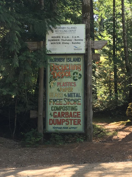 Recycling depot sign on Hornby Island