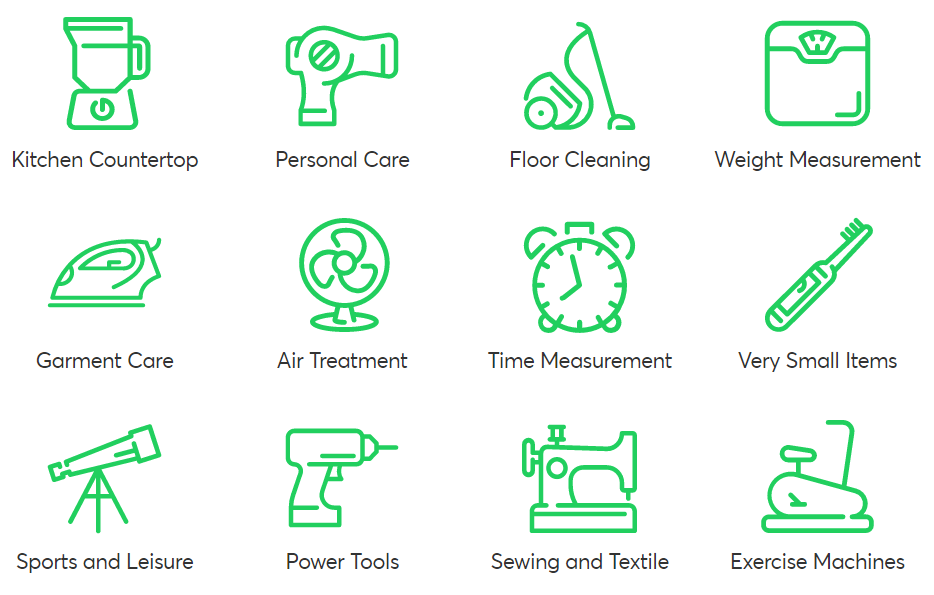 Accepted Items for Recycling Categories: kitchen countertop, personal care, floor cleaning, weight measurement, garment care, air treatment, time measurement, very small items, sports and leisure, power tools, sewing and textile, exercise machines