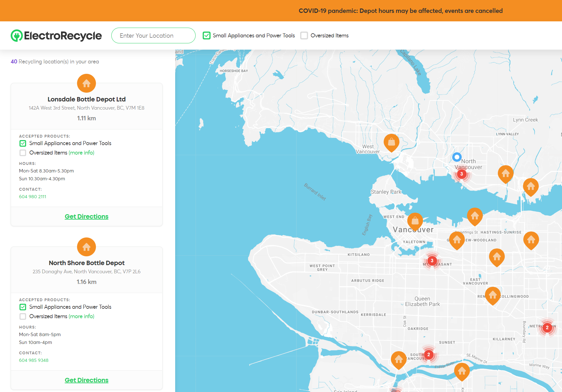 ElectroRecycle online recycling depot locator map contact information