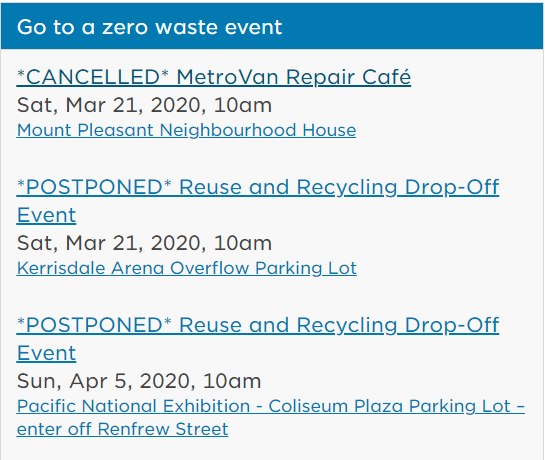 City of Vancouver suspending zero waste reuse and recycle events
