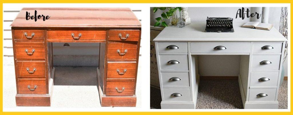 Refurbished Desk Before and After
