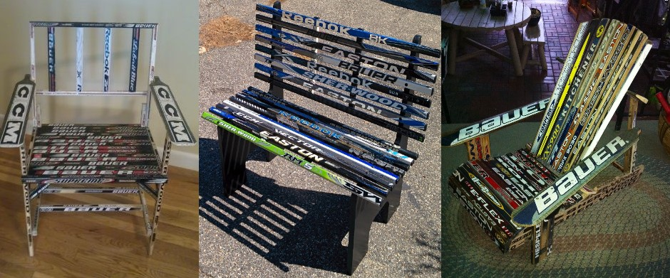 3 project ideas: Hockey stick chair version 1, hockey stick bench, hockey stick muskoka chair