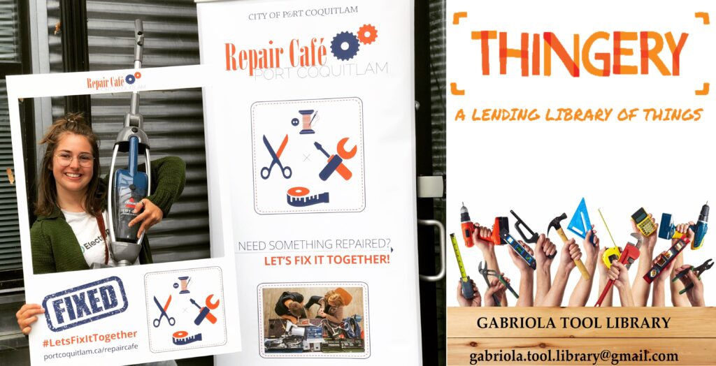 Reuse and repair events at the PoCo Repair Cafe and the Thingery on Gabiola Island