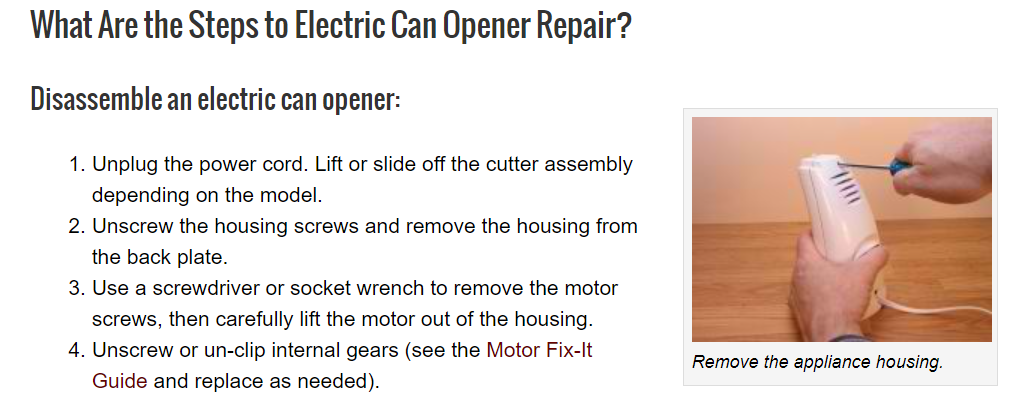 Steps to fix electric can opener