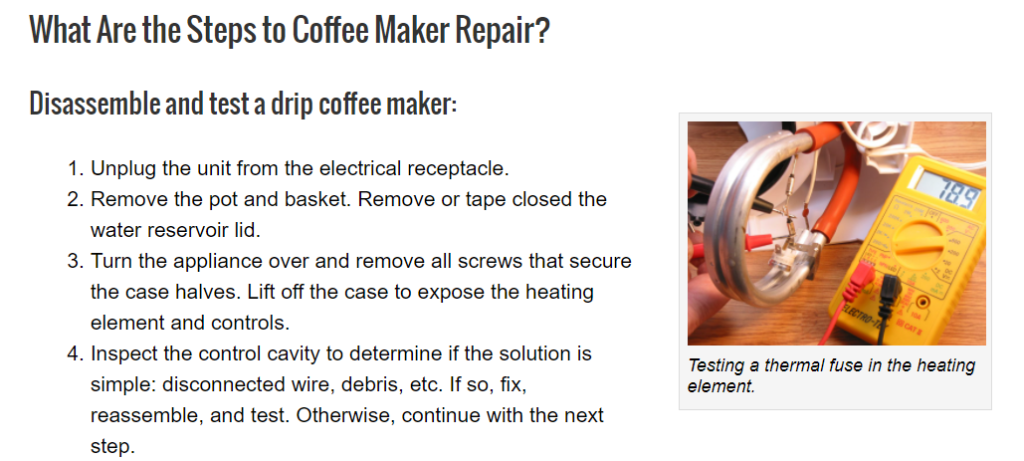 Repair coffee maker to be sustainable
