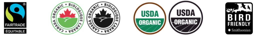 Sustainable coffee labels: Fairtrade, Canada Organic, USDA Organic, Smithsonian Bird Friendly