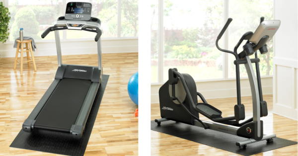 Treadmill and elliptical on exercise machine mats