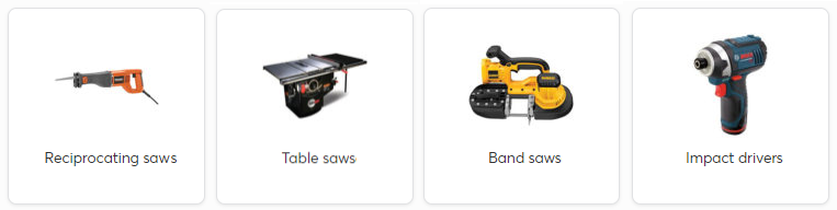 Images of example power tools accepted for recycling with text labels: Reciprocating Saw, Table Saw, Band Saw, Impact Driver